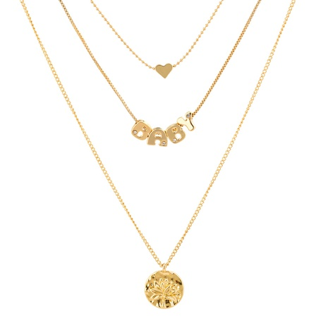 fashion BABY letter metal tree of life round pendant necklace NHAN322169's discount tags