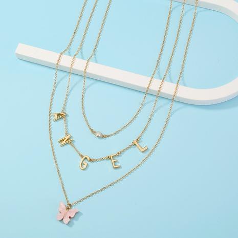 collar de múltiples capas del ángel inglés de la mariposa de la moda NHAN322170's discount tags