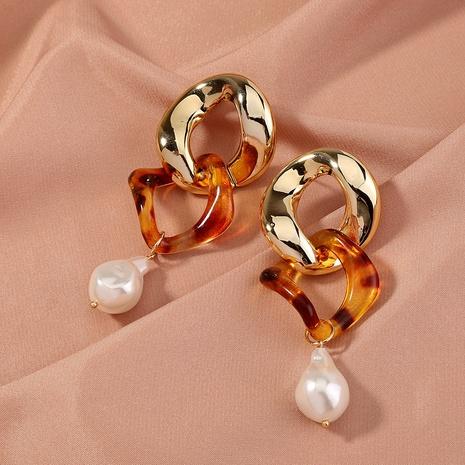 Creative Fashion Baroque Pearl Pendant Leopard Earrings NHAN322178's discount tags