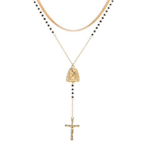 fashion simple cross long pendant flat necklace NHAN322181's discount tags