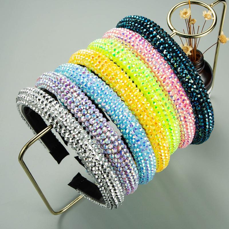 Korean fashion solid color fabric full diamond headband NHLN322186