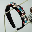 fashion baroque black flannel diamondstudded flower headband  NHLN322193