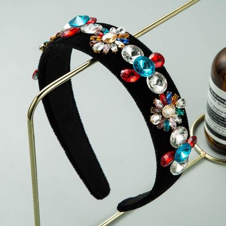bandeau à fleurs en flanelle noire à la mode baroque NHLN322193's discount tags
