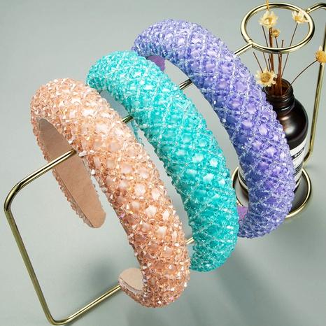 bandeau à larges bords fait main en cristal transparent baroque de mode NHLN322195's discount tags