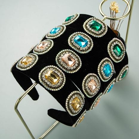 bandeau baroque rétro en flanelle noire en strass NHLN322196's discount tags