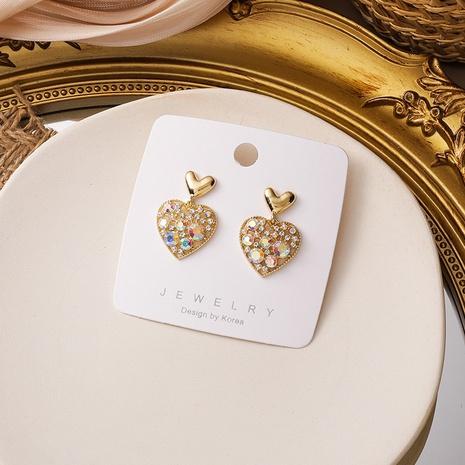 Boucles d'oreilles coréennes en forme de coeur strass coloré NHXI322209's discount tags
