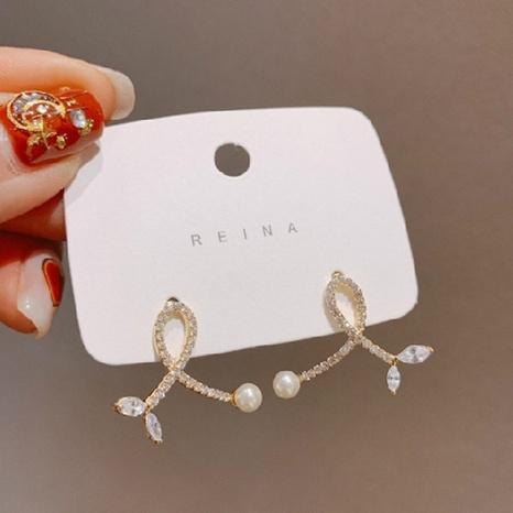 Korean Cross Leaf Pearl Stud Earrings   NHXI322215's discount tags
