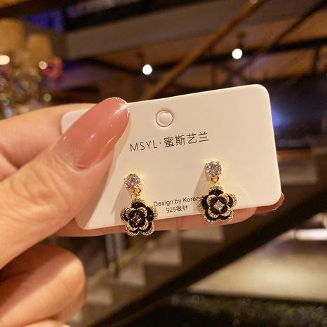 Boucles d'oreilles coréennes rétro à fleurs cloutées de diamants NHXI322218's discount tags