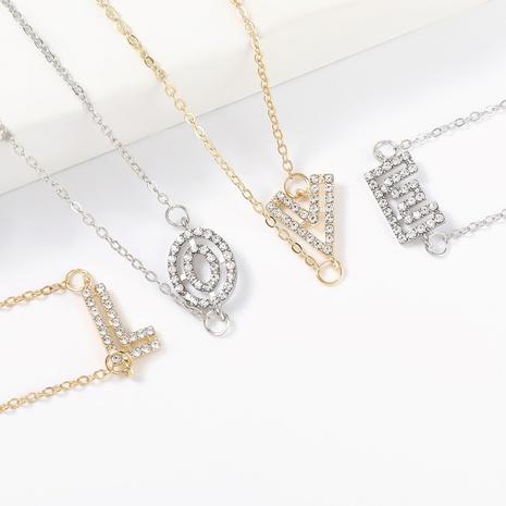 Mode einfache Diamant hohle Buchstabenlegierung Halskette NHJE322235's discount tags
