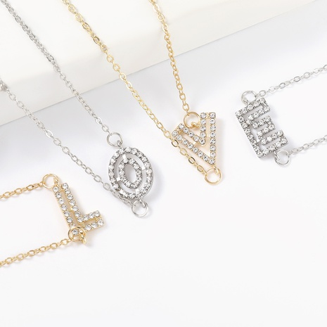 Fashion simple diamond hollow letter alloy necklace NHJE322235's discount tags