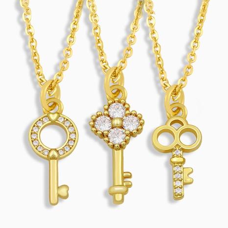collier clé simple micro-incrusté de zircon NHAS322243's discount tags