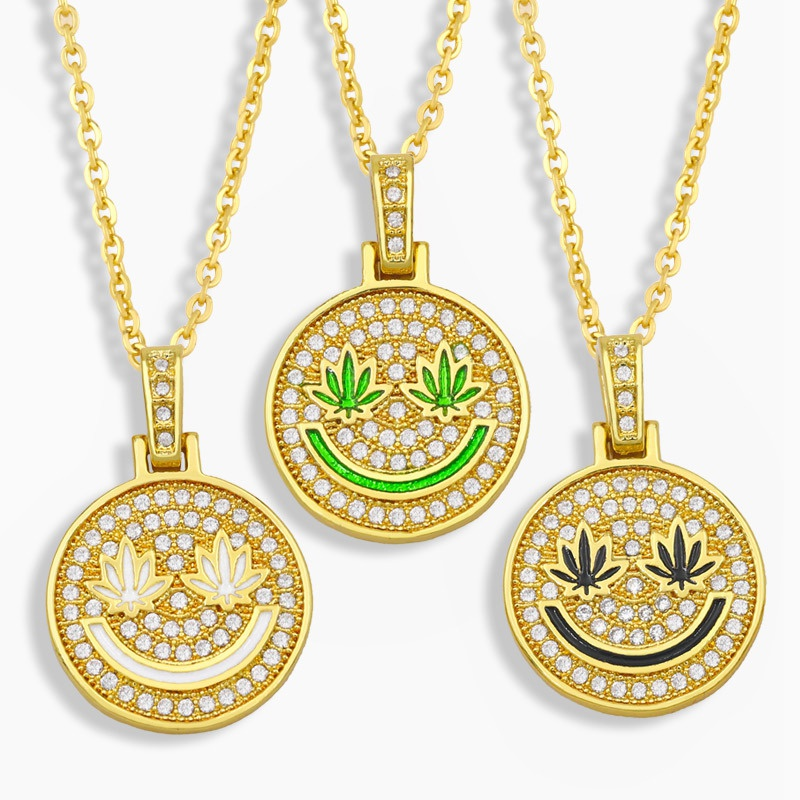 hiphop smiley face short necklace NHAS322248