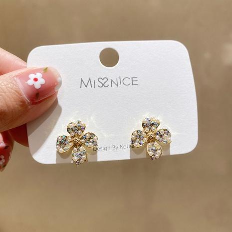 silver needle colorful rhinestone pearl earrings  NHMS322266's discount tags