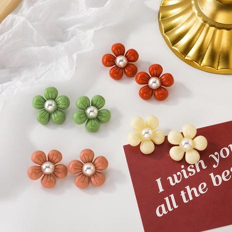 Boucles d'oreilles en perles de fleurs coréennes en gros NHMS322274's discount tags