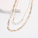 collier double couche en alliage de perles de mode NHMD322288