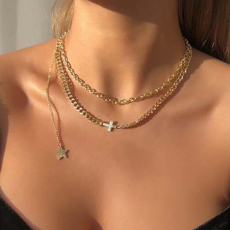 fashion simple star tassel necklace NHMD322292's discount tags