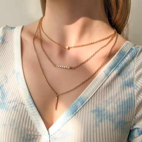 new fashion multi-layer geometric pendant beaded necklace NHMD322300's discount tags