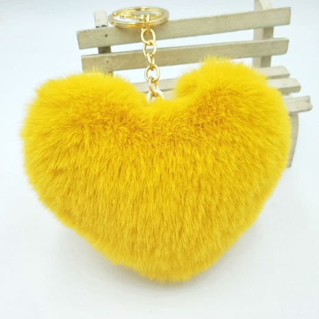 simple imitation rex rabbit fur plush peach heart keychain NHDI322311's discount tags