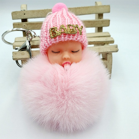 Rex rabbit fur cute sleeping doll keychain  NHDI322317's discount tags