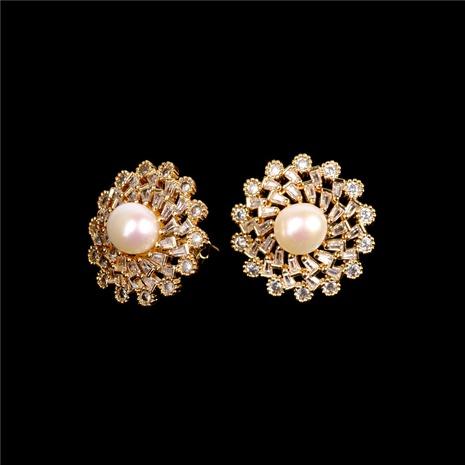 boucles d'oreilles rétro en perles de zircon en gros NHPY322322's discount tags