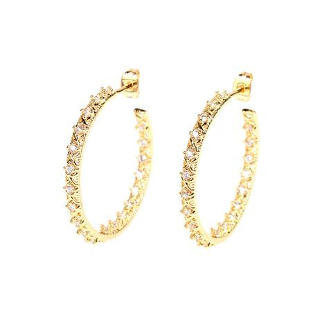 boucles d'oreilles géométriques fantaisie micro-incrustées de diamants NHPY322327's discount tags