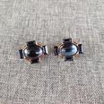 NHOM1489152-Dark-blue-silver-needle-stud-earrings-1.72.1cm