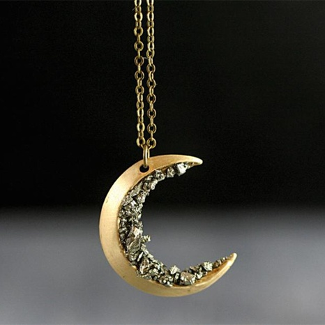 Retro simple Gold Crescent Necklace  NHQC322573's discount tags