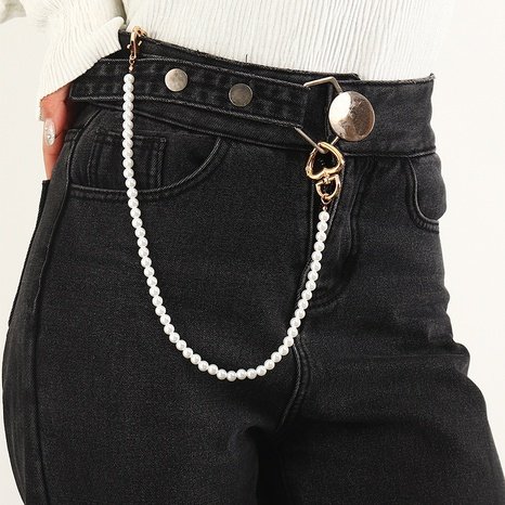 simple imitation pearl waist chain NHNZ322336's discount tags