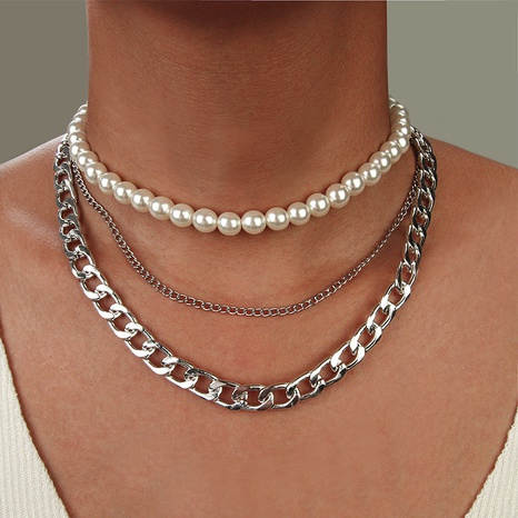 punk multilayer thick chain pearl necklace NHNZ322338's discount tags