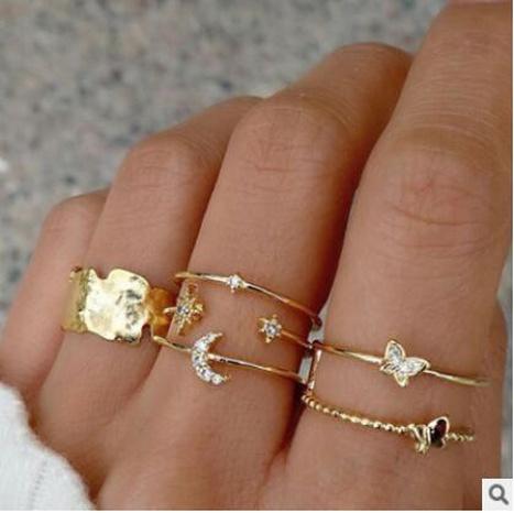nueva moda diamante mariposa estrella luna anillo conjunto NHPJ322354's discount tags