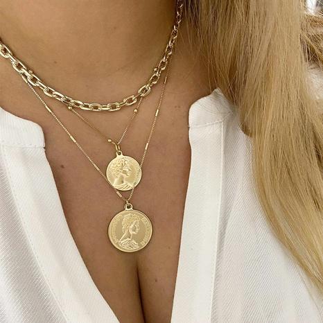 retro golden seal multilayer necklace NHPJ322356's discount tags