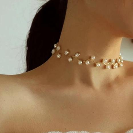 Collier de mariage rétro simple avec perles NHPJ322362's discount tags