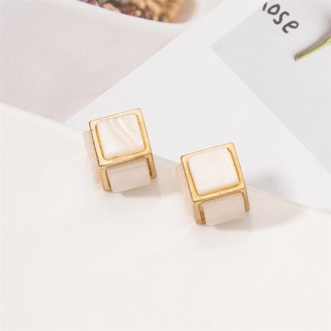 Boucles d'oreilles simples carrées tridimensionnelles coréennes NHAI322375's discount tags