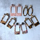 fashion oval Hollow Brown Pink Flower Stud Earrings NHOM322422