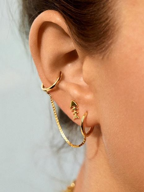 Mode asymmetrische Fischgräten lange Ohrringe NHLU322467's discount tags