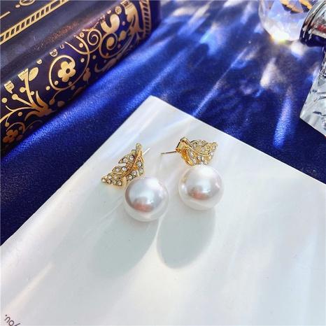 Korea simple pearl leaf earrings NHVA322488's discount tags