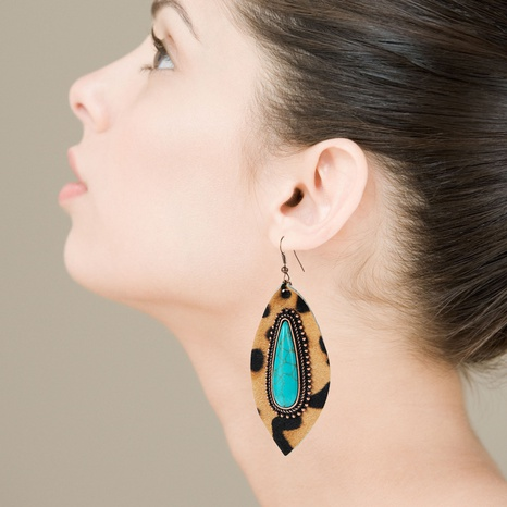 drop-shaped turquoise leather leopard earrings  NHLN322499's discount tags