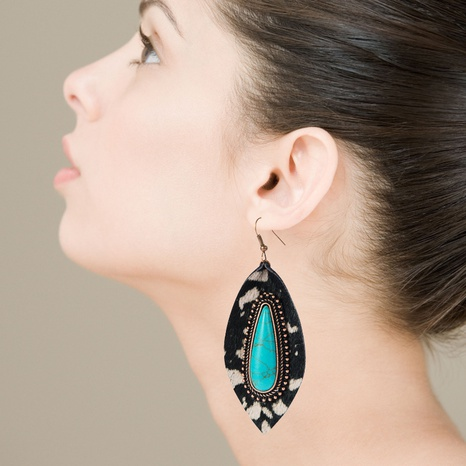 leather leopard blue turquoise earrings   NHLN322498's discount tags