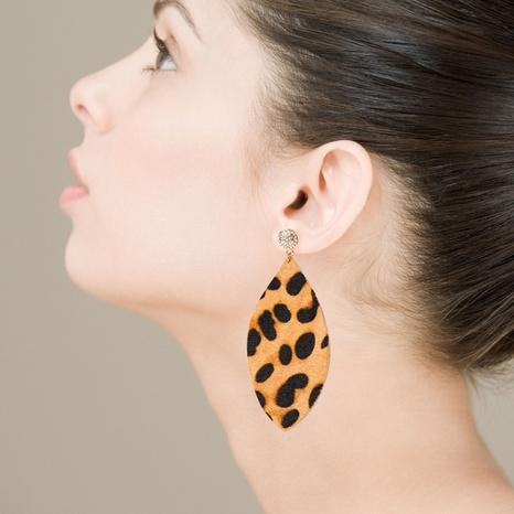 retro leather leopard rhinestone earrings  NHLN322501's discount tags