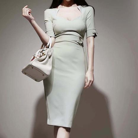 women's sexy square-neck waistband slim-fit split hip dress NHZN322556's discount tags