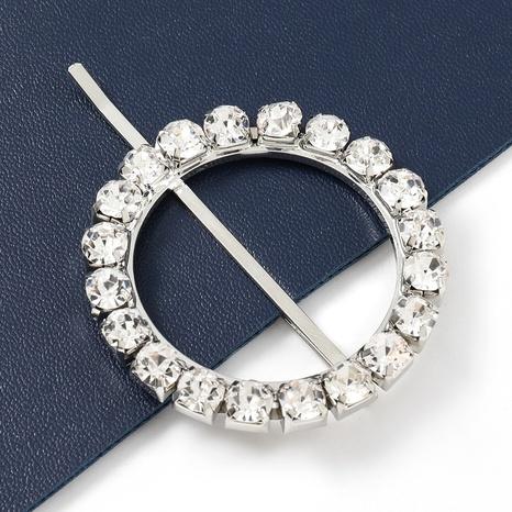 épingle à cheveux en diamant en alliage rond simple à la mode NHJE322132's discount tags