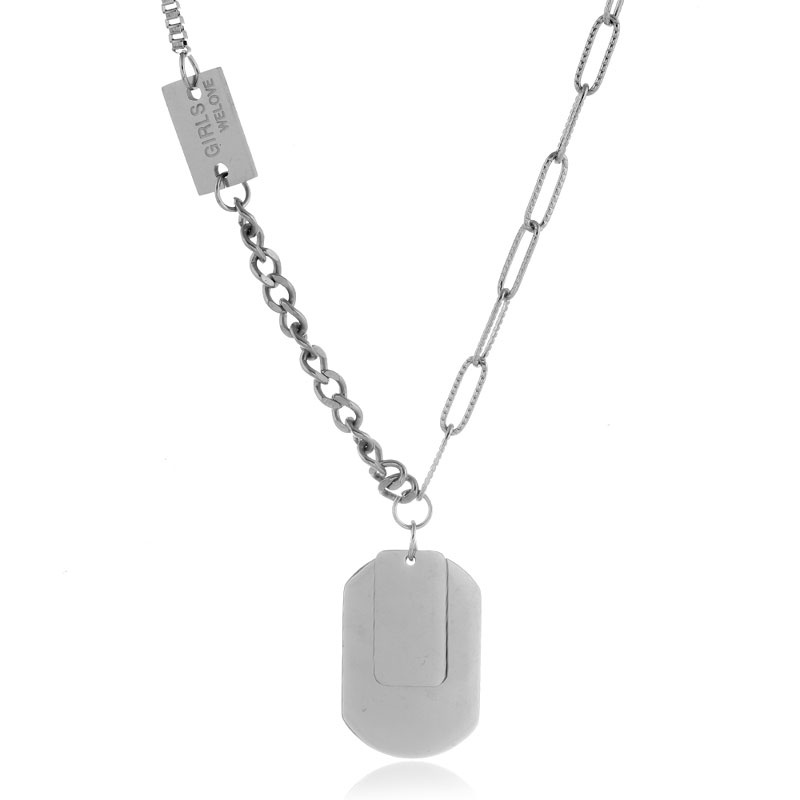 Fashion Concise Stainless Steel Shield Pendant Long Necklace NHSC322106