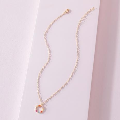 Collier pendentif zircon coloré à la mode NHLU322435's discount tags