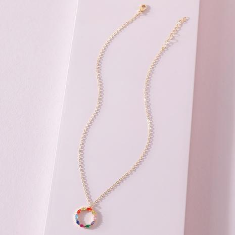 Collier pendentif cirlcle coloré fashion korea NHLU322436's discount tags