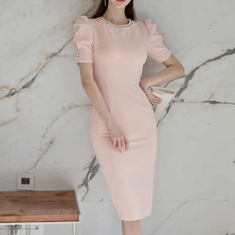 fashion Round Neck Puff Sleeve Sexy Dress NHZN322543's discount tags