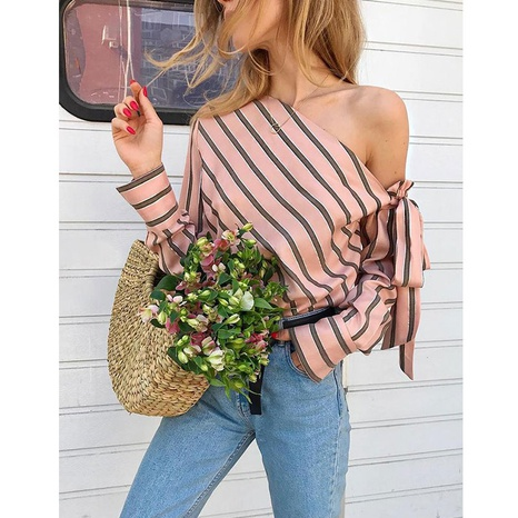 New simple fashion slanted shoulder strap striped shirt NHJG322533's discount tags