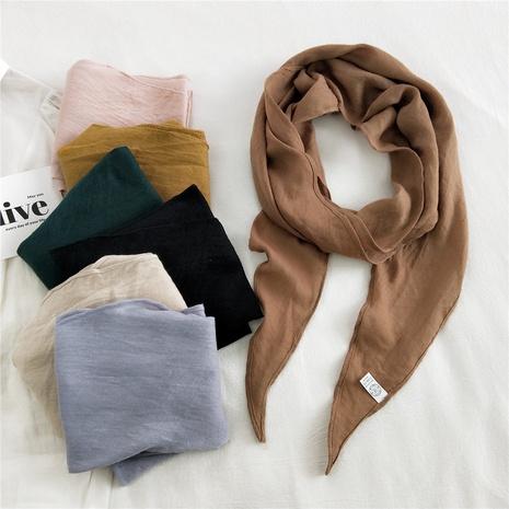 Bufanda de seda de triángulo de color sólido de algodón y lino de moda coreana NHMN322644's discount tags