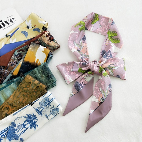 Pañuelo de seda de tira fina coreana NHMN322645's discount tags