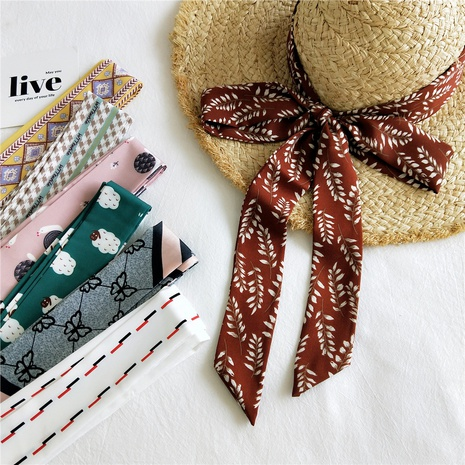 Bufanda larga delgada de seda pequeña de Corea NHMN322646's discount tags