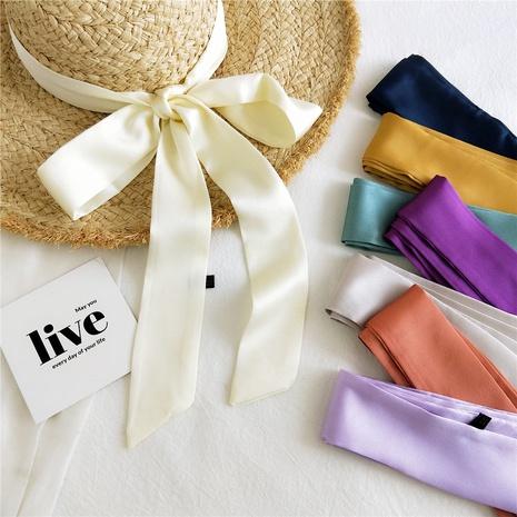 Pañuelo de seda pequeño de color sólido con tira fina y estrecha de Corea NHMN322648's discount tags